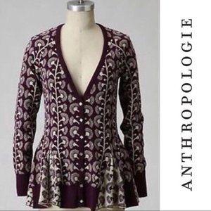 Anthropologie Monogram HWR Cardigan Floral Print S